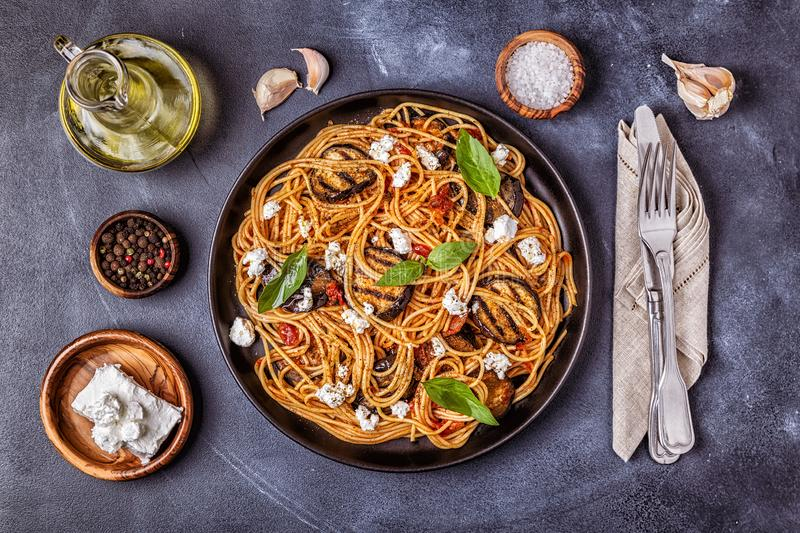 Pasta alla Norma - traditional Italian food stock images