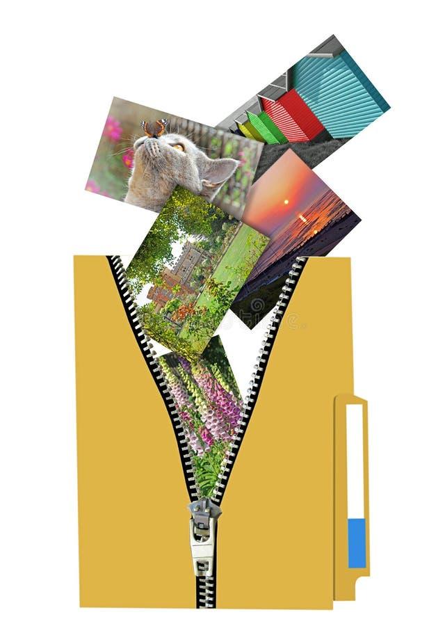pasta arquivos Zip pasta pasta unzip zipper fotos digitais fotografar arquivo armário on-line cloud internet office filofax compu imagens de stock royalty free
