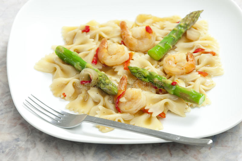 Pasta with asparagus royalty free stock photo