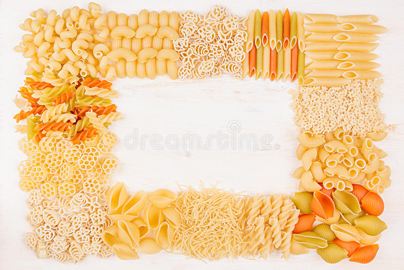 Pasta Background Decorative Frame Of Assortment Different Kinds ...