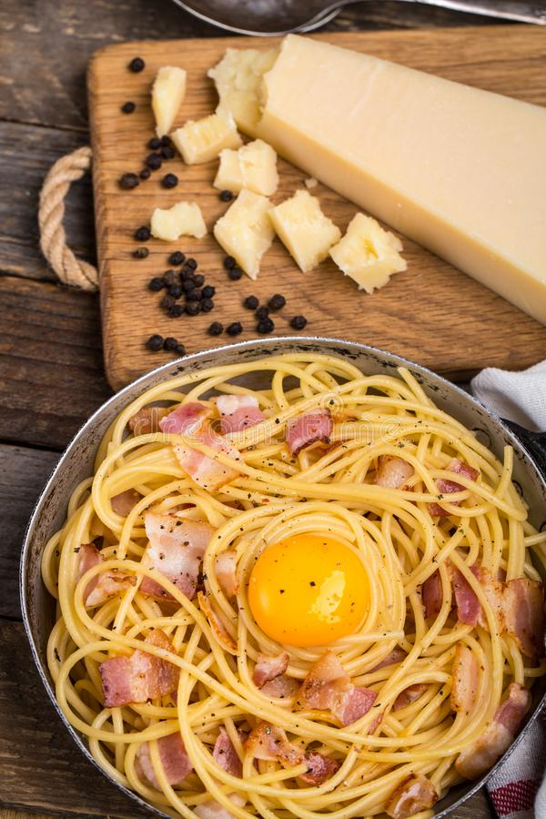 Pasta with bacon, egg and cheese stock image