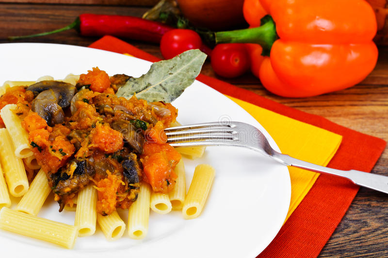 Download Pasta With Baked Pumpkin With Mushrooms And Vegetables. Vegetari Stock Image - Image: 73266647