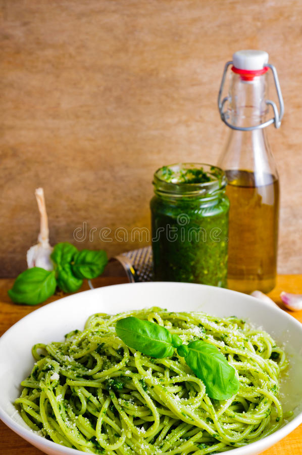 Pasta with basil pesto stock photography