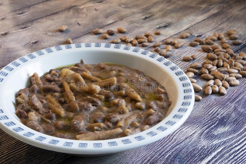 Pasta and beans. Or pasta e fagioli, is a quick and easy, inexpensive, nutritious and delicious meal that the entire family will enjoy. Children especially royalty free stock images