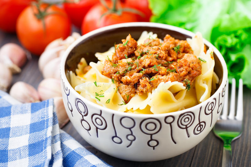 Pasta Bolognese in a bowl royalty free stock photography