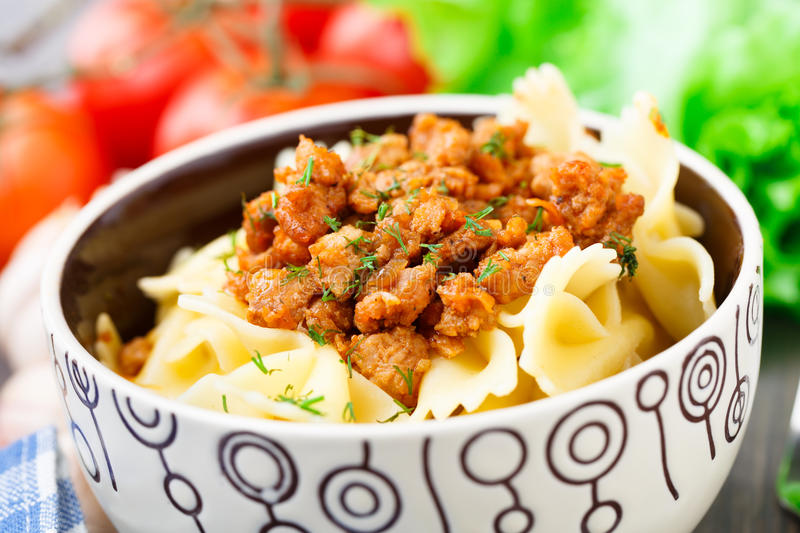 Pasta Bolognese in a bowl royalty free stock image