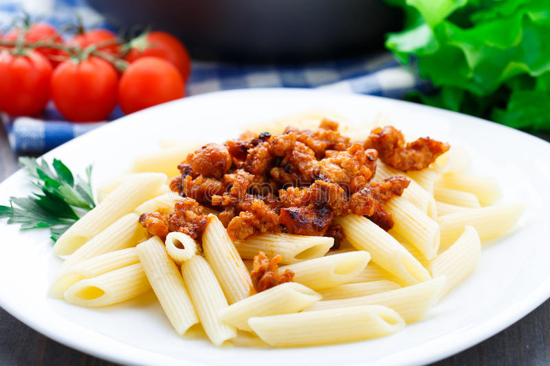 Pasta with bolognese sauce stock photography