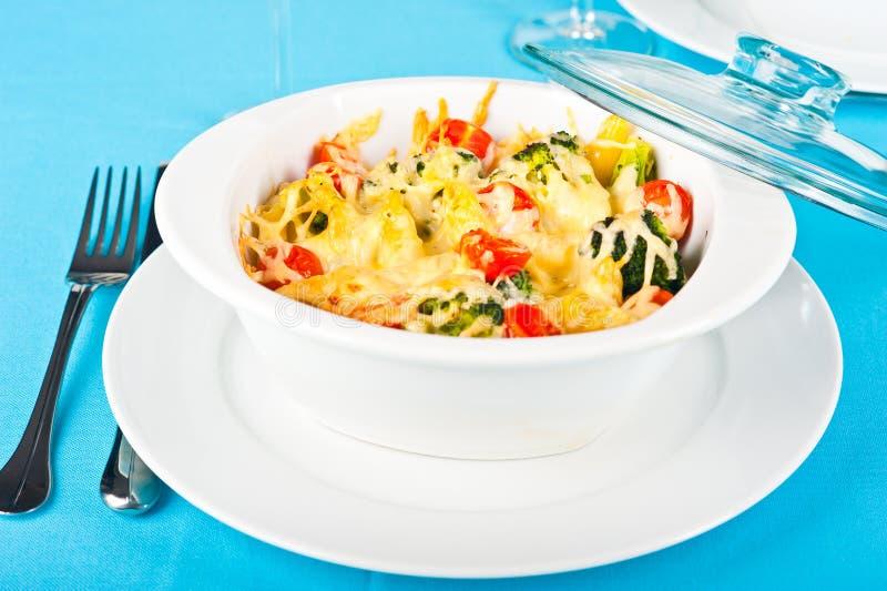 Pasta and broccoli bake. Hearty pasta and broccoli bake stock photography