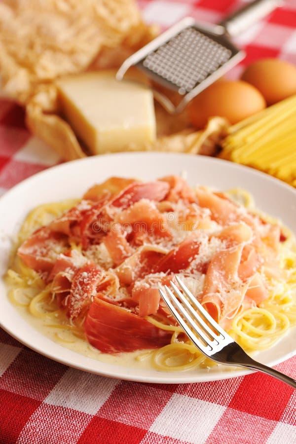 Pasta carbonara royalty free stock photo
