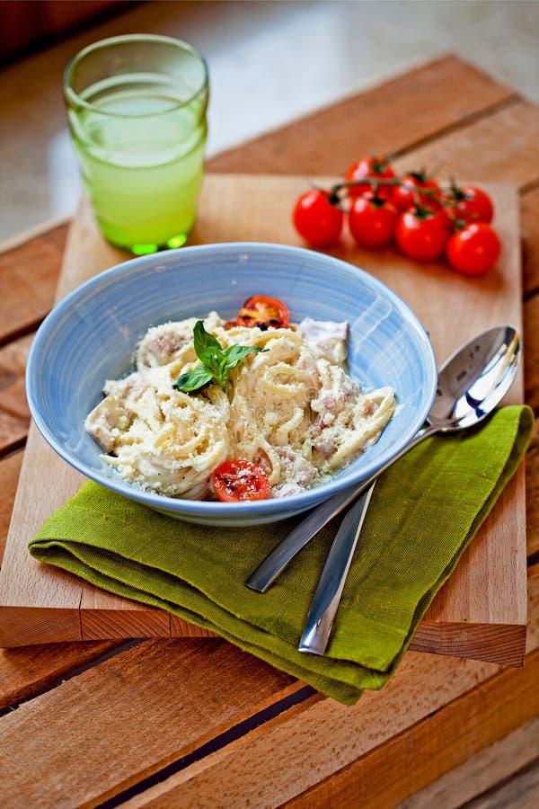 Pasta carbonara stock photography