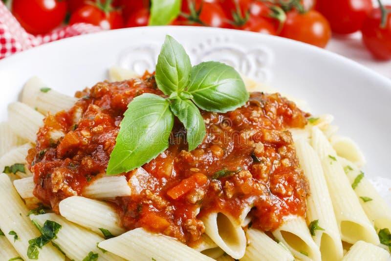 Pasta casalinga e salsa bolognese fotografia stock