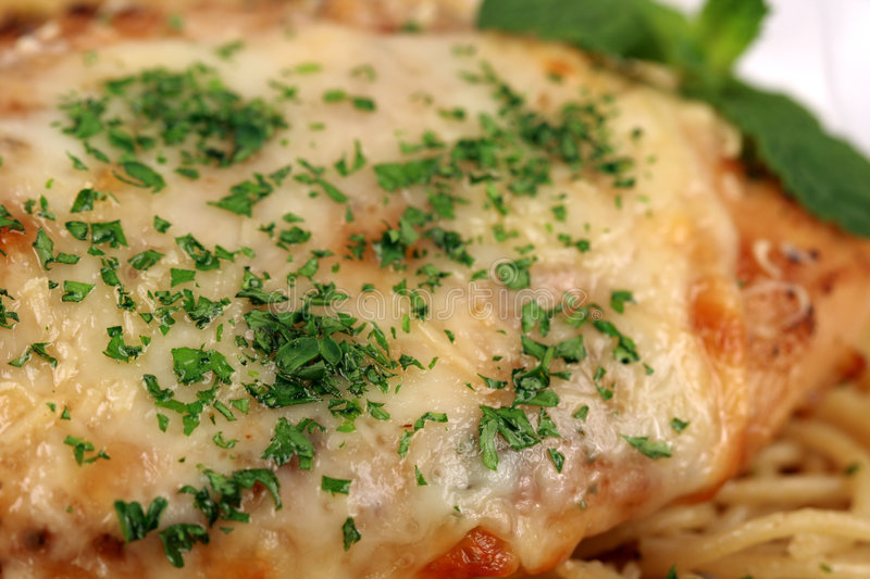 Pasta and chicken breast meal close up stock photography