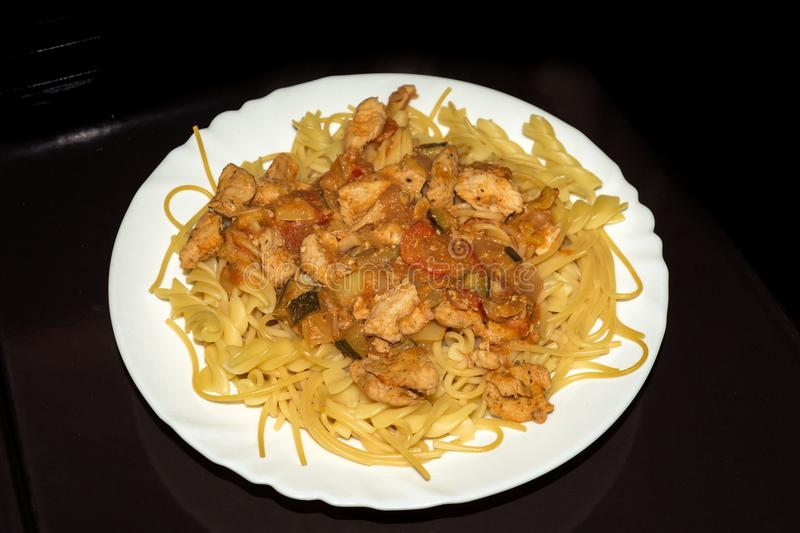 Pasta with chicken. Fitness diet. stock images