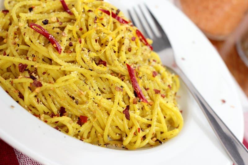 Pasta with chili. stock photos