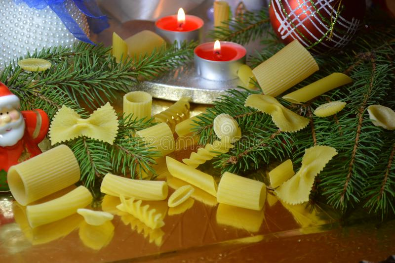 Christmas with pasta royalty free stock photos