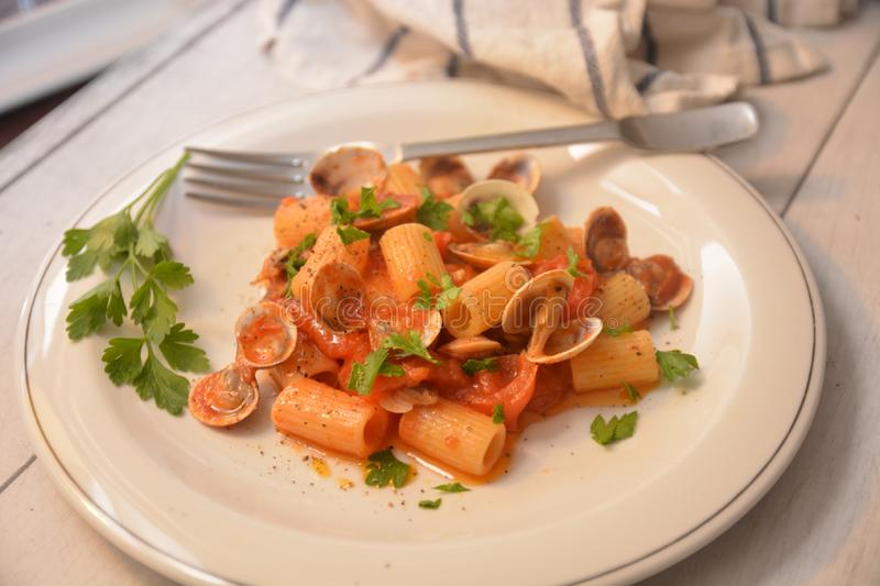 Pasta with clams italian sea food dish gourmet food. Tomato pepper ingredient royalty free stock photos