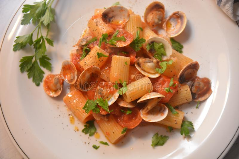 Pasta with clams italian sea food dish gourmet food. Tomato pepper ingredient royalty free stock images