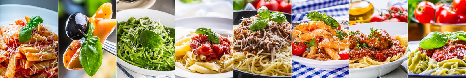 Pasta collage. selection of different Italian pasta dishes - spa royalty free stock photos