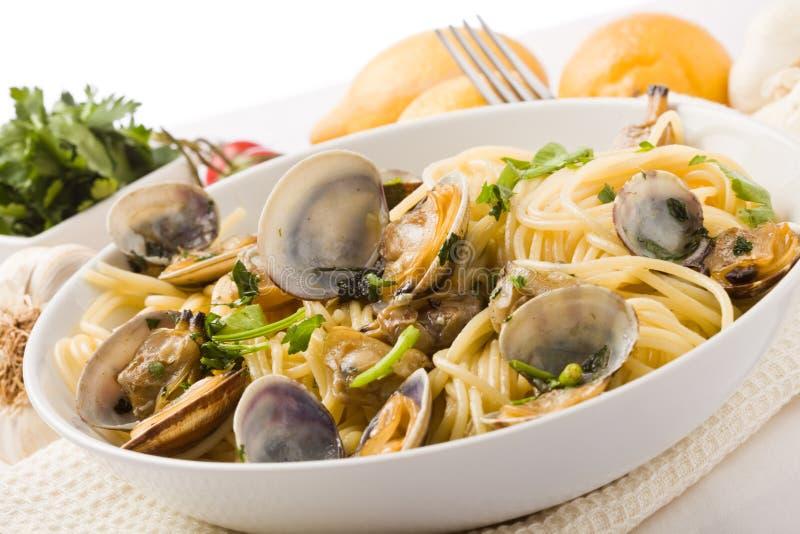Pasta con i molluschi su priorità bassa bianca immagini stock libere da diritti