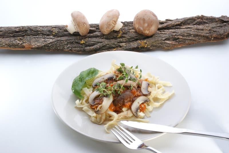 Pasta con il fungo fotografia stock