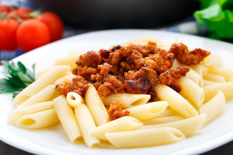 Pasta con salsa bolognese immagine stock