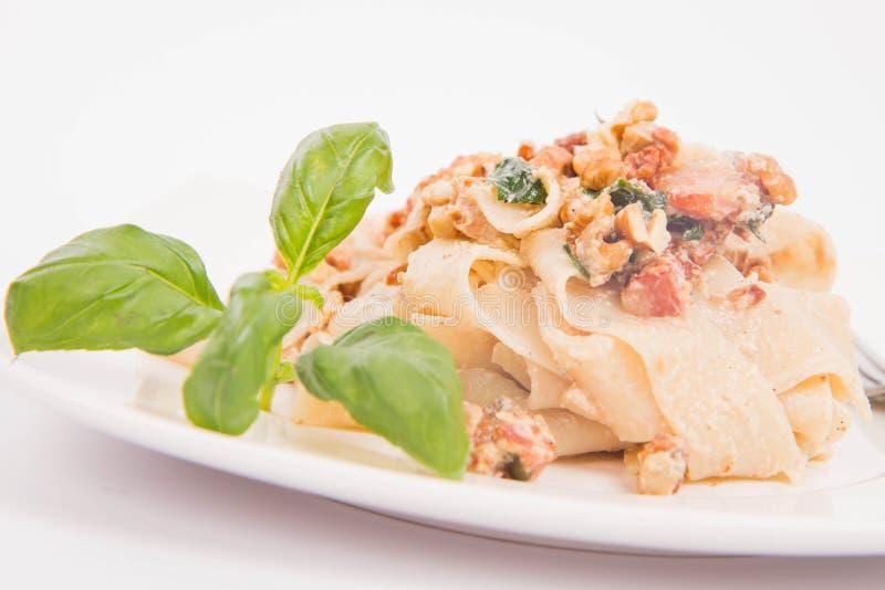 Pasta con salsa crema fotografia stock libera da diritti