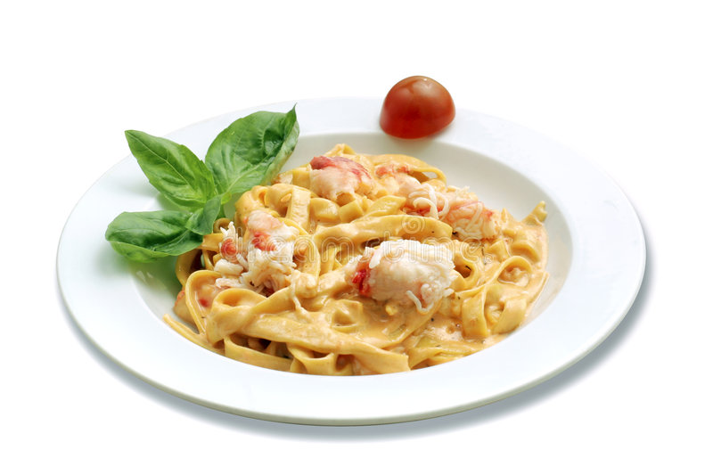 Pasta with crab royalty free stock image