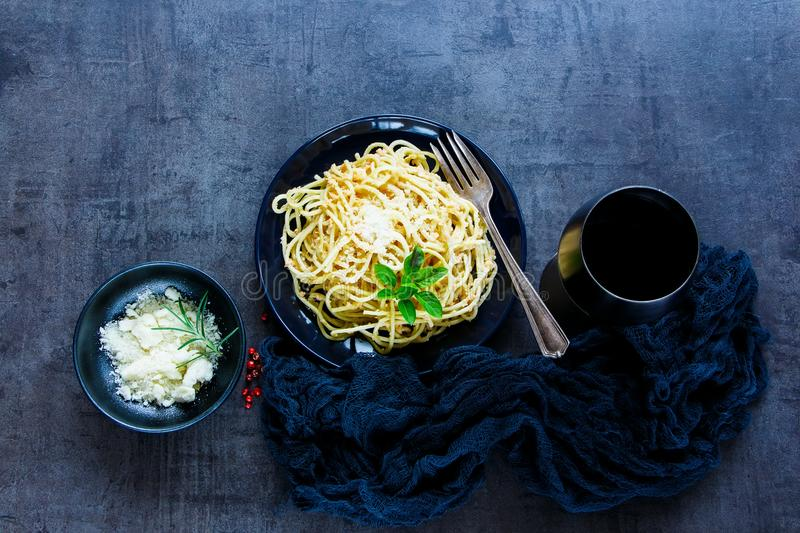 Pasta with crab sauce royalty free stock photos