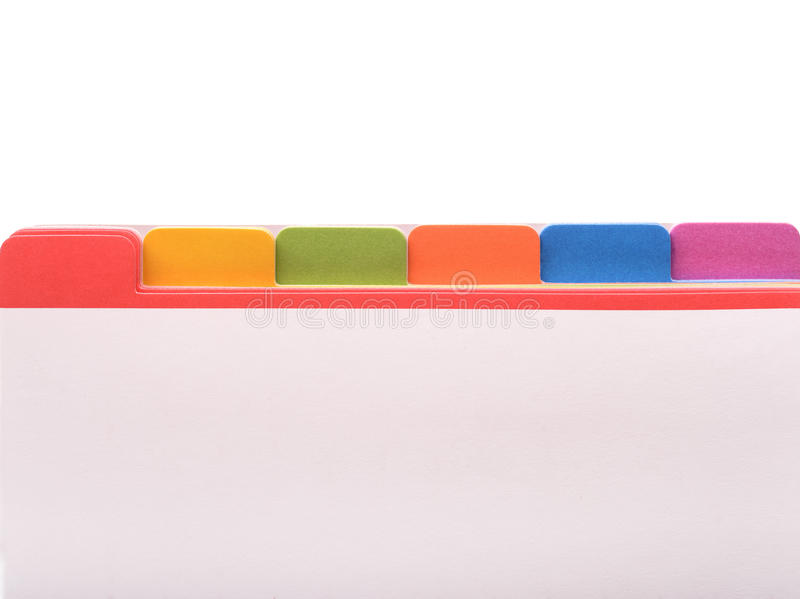 Pasta de arquivos com etiquetas da cor imagens de stock
