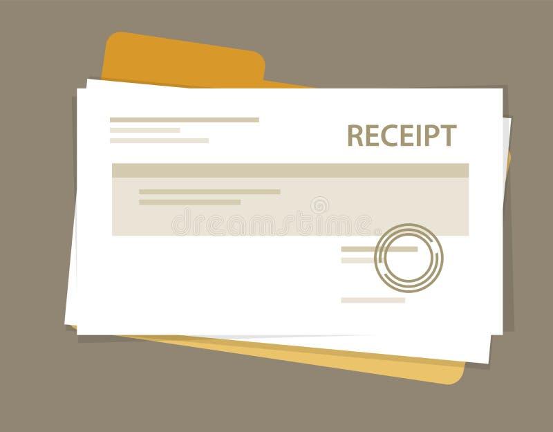 Pasta de arquivos da contabilidade do vetor da pilha do papel do recibo do original ilustração do vetor