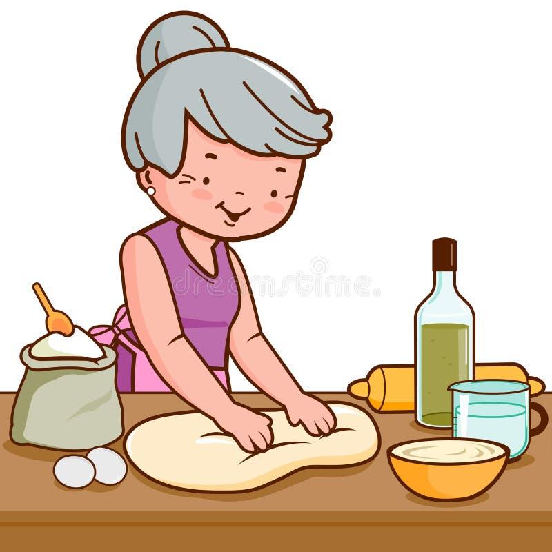 Pasta de la mujer mayor y pan de amasamiento de la fabricación en la cocina ilustración del vector