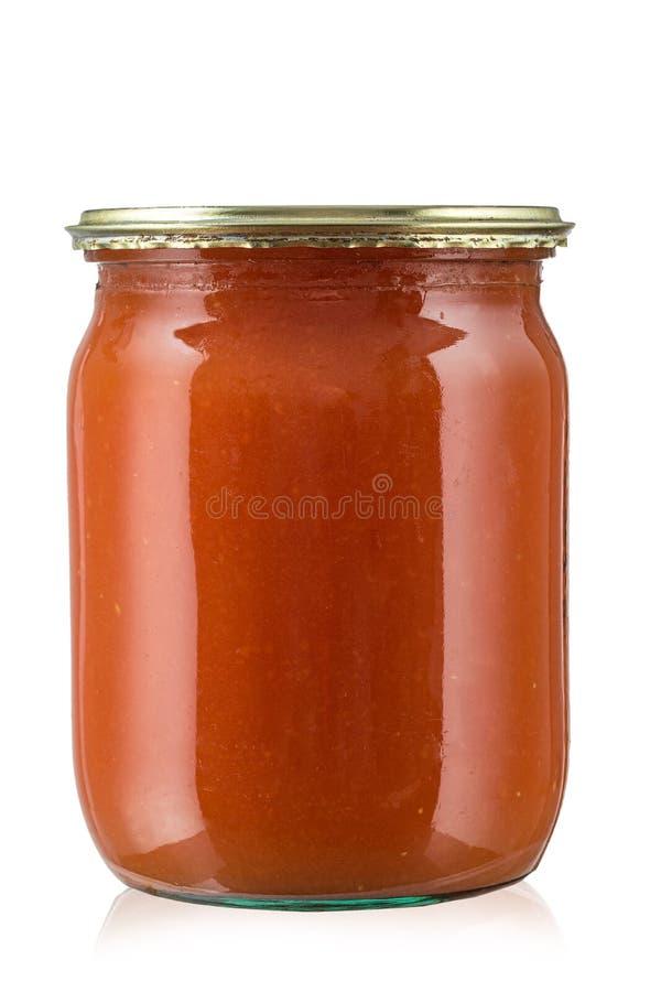 Pasta de tomate no frasco imagem de stock royalty free