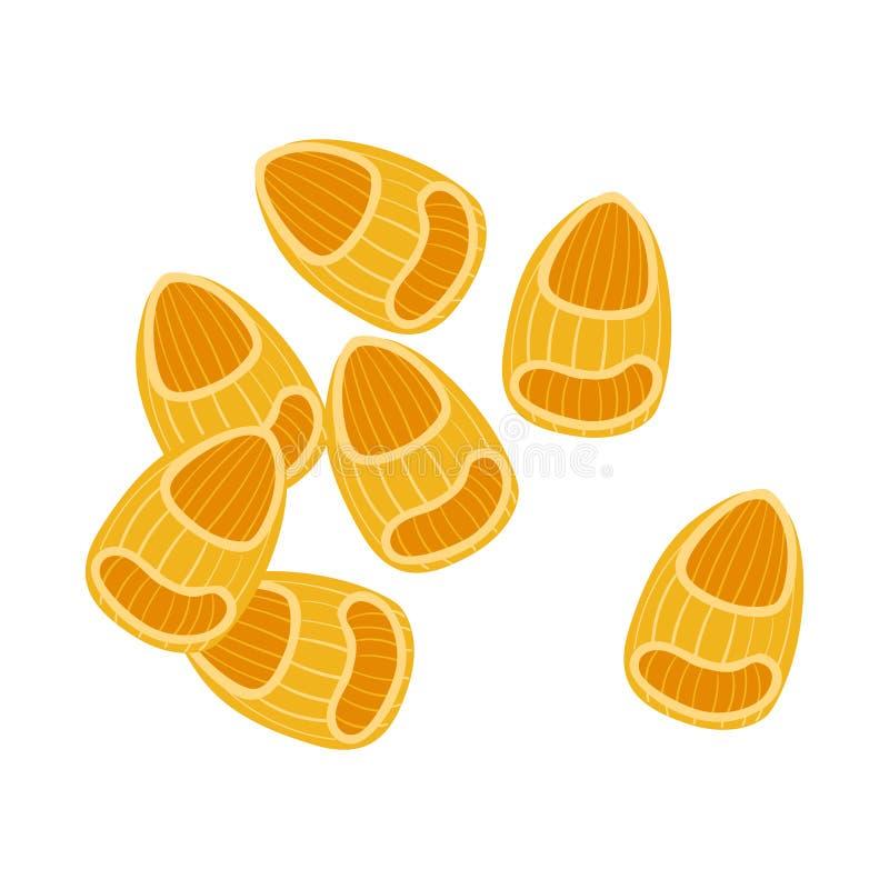 Pasta del rigate della pipetta Pasta italiana cruda, maccheroni, illustrazione del fumetto illustrazione vettoriale