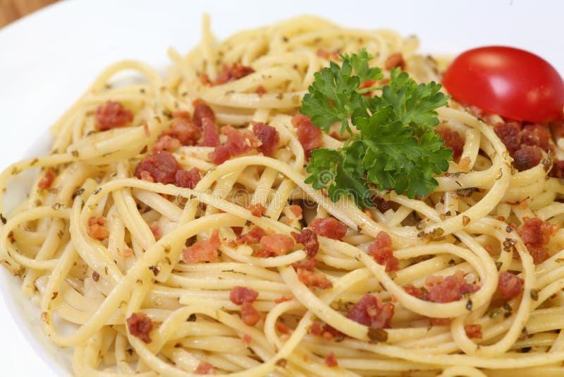 Pasta di carbonara degli spaghetti fotografia stock