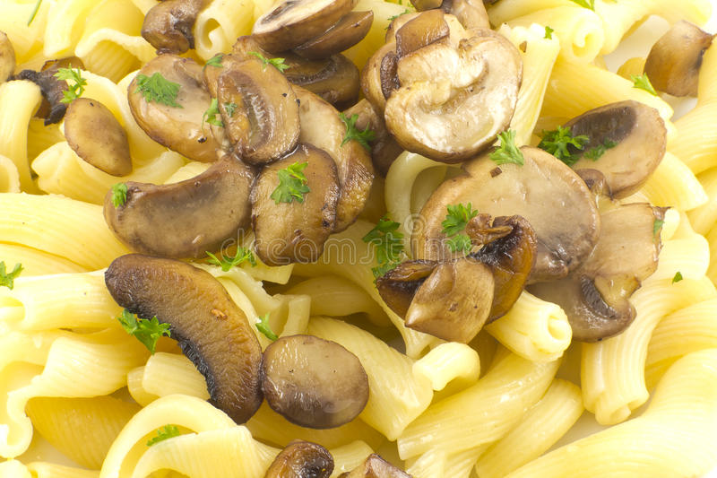 Pasta Dish Gigli Con Funghi. Gigli Con Funghi pasta dish with chopped parsley leaves royalty free stock photography