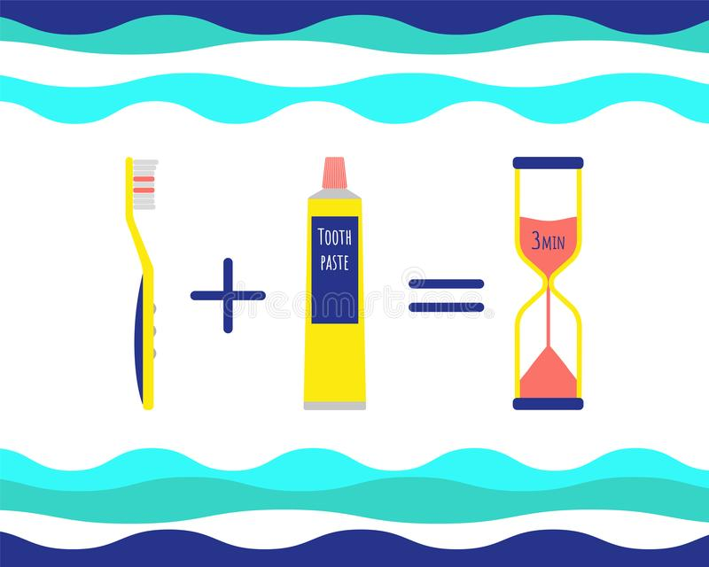 Pasta do zębów, toothbrush i hourglass, ilustracji