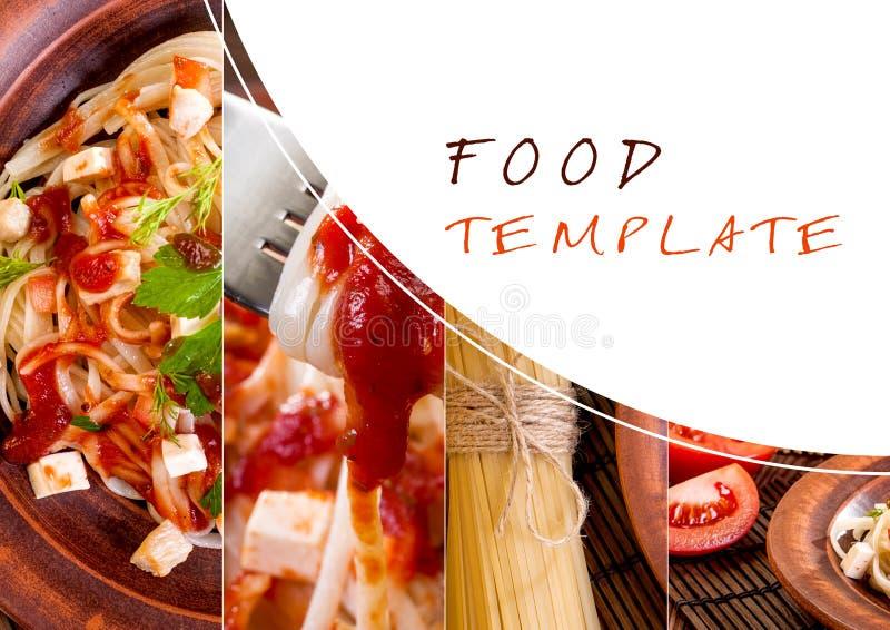 Pasta e pomodori ciliegia, collage da parecchie immagini immagine stock libera da diritti