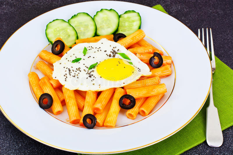 Pasta with Egg and Chia Seeds royalty free stock images