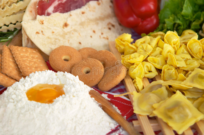 Pasta, egg, flour, biscuits stock images