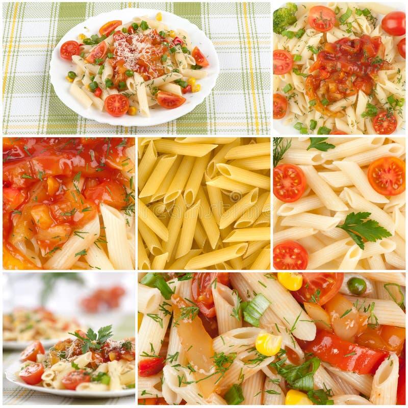 pasta för collagematitalienare royaltyfria foton