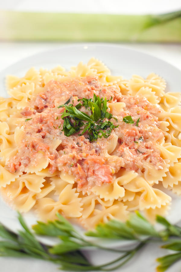 Download Pasta Farfalle With Salmon Sauce Stock Image - Image: 16039235