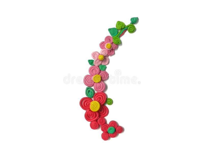 Pasta floral hermosa de la arcilla del plasticine de la flor del ramo, roja y rosada imagen de archivo libre de regalías
