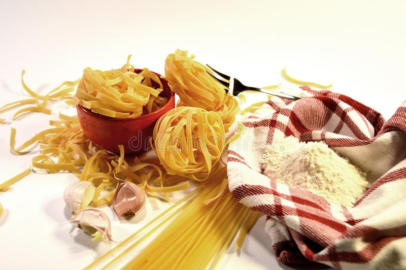 Pasta, flower and garlic royalty free stock photo