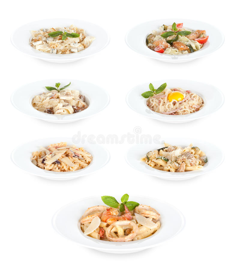 Pasta food. In plates on white background royalty free stock images