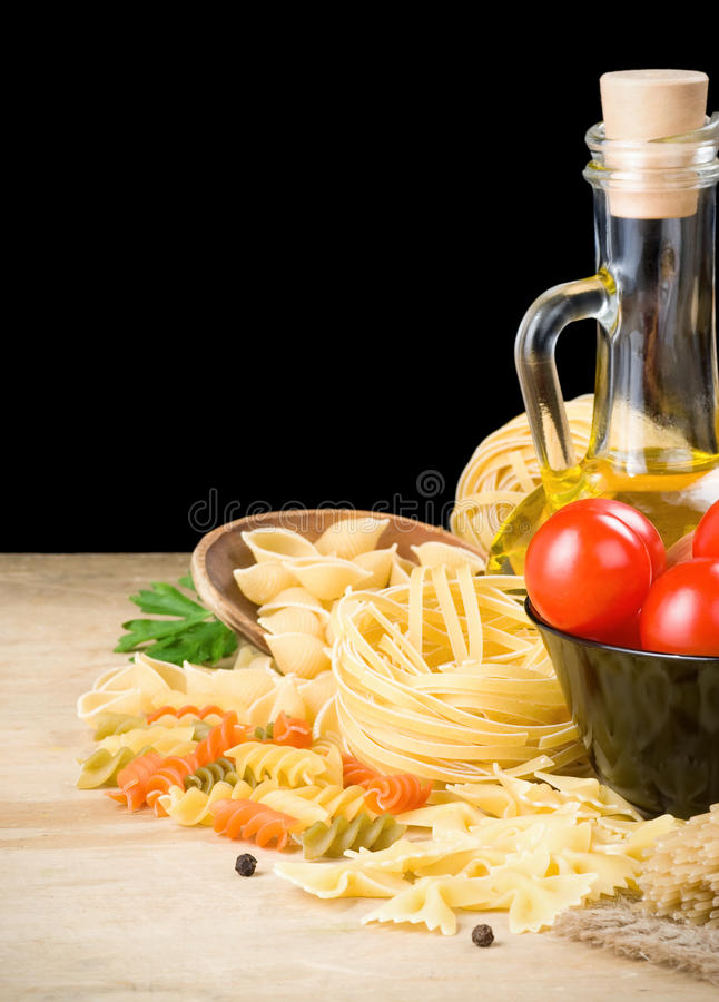 Pasta and food ingredient on black