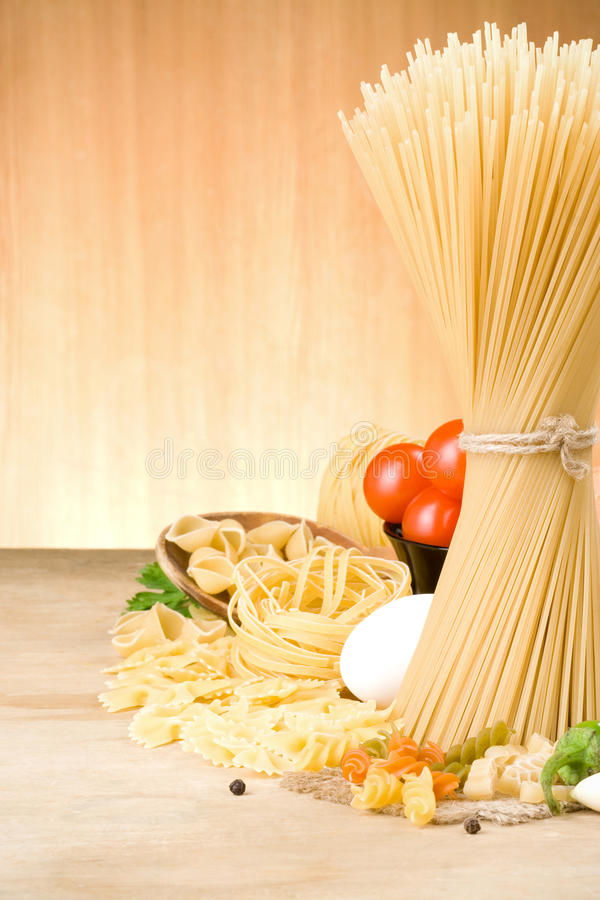 Pasta And Food Ingredient On Wood Royalty Free Stock Photo