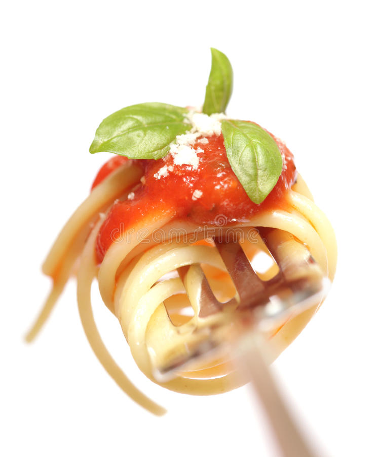 Pasta on a fork royalty free stock photography