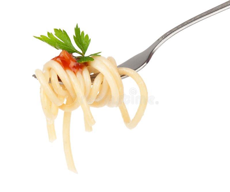Pasta on fork royalty free stock photos