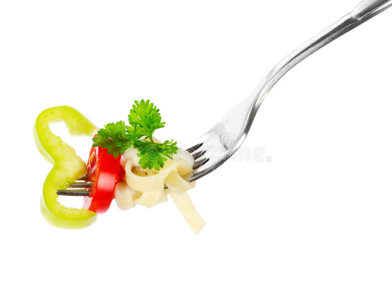 Download Pasta on a fork stock photo. Image of food, herb, italy - 20265358