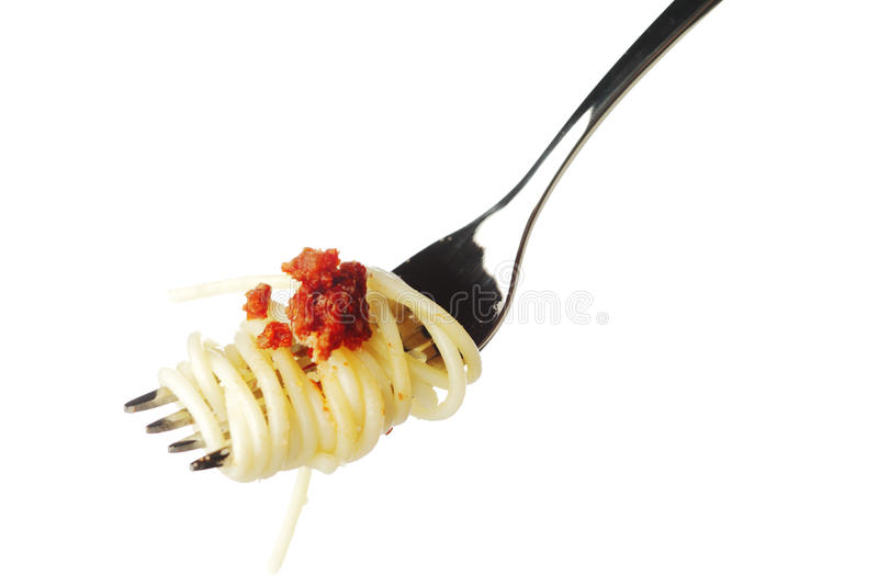 Pasta on fork isolated on white royalty free stock photography